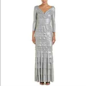Kay Unger Shutter Pleats Tiered Dress Silver 4